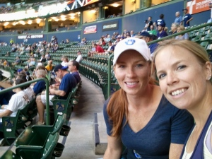 Laura and I at an impromptu brewer game date night courtesy of Dad's extra tickets (summer 2012).