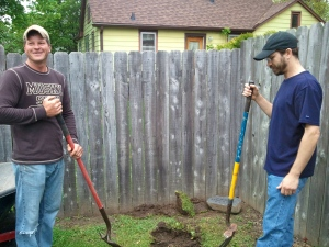 Matt and Jason planting a tree for a friend that passed away.