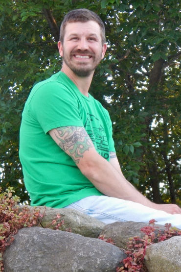 Jason hanging out in our backyard