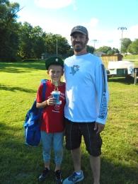 Vince, a baseball trophy and Jason