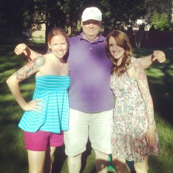 Dad and his girls (and their tattoos)